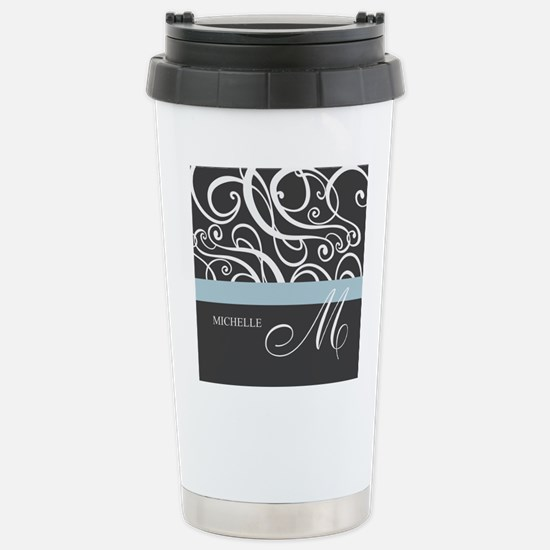 Elegant Grey White Swirls Monogram Stainless Steel
