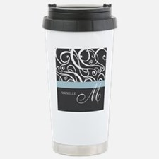 Elegant Grey White Swirls Monogram Travel Mug