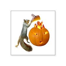 "Squirrel Burning Pumpkin Square Sticker 3"" x 3"""