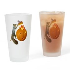 Squirrel Burning Pumpkin Drinking Glass