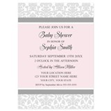 Pink gray damask baby girl shower 5 x 7 Flat Cards