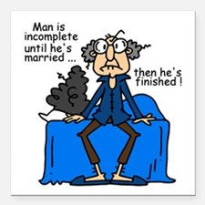 """Men and Marriage Square Car Magnet 3"""" x 3"""""""