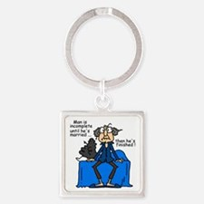 Men and Marriage Square Keychain