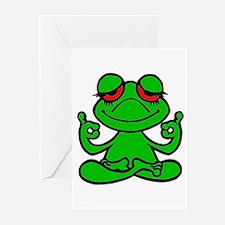 Frog Lotus Greeting Cards