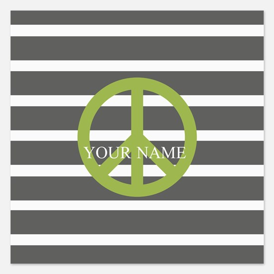 Peace Sign Charcoal Stripes 5.25 x 5.25 Flat Cards