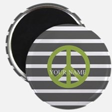 Peace Sign Charcoal Stripes Magnet