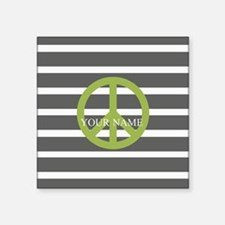 """Peace Sign Charcoal Stripes Square Sticker 3"""" x 3"""""""