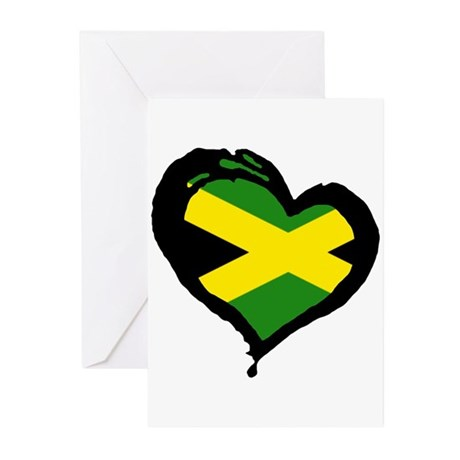 Jamaica One Heart Greeting Cards (Pk of 10)