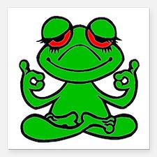 "Frog Lotus Square Car Magnet 3"" x 3"""