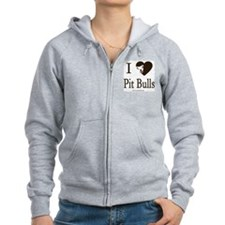 I Heart Pit Bulls Zip Hoodie