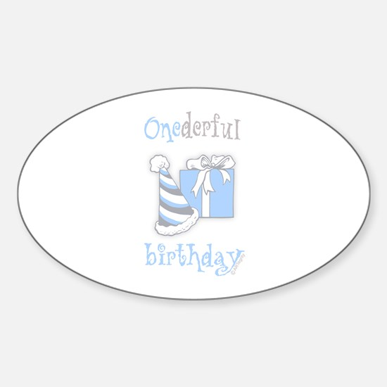 Onederful Birthday Party (boy) Oval Decal