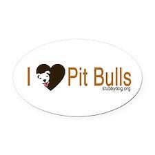 I Love Pit Bulls Oval Car Magnet