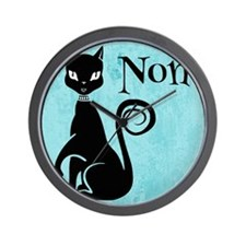 Black Kitty on Aqua Non No Wall Clock