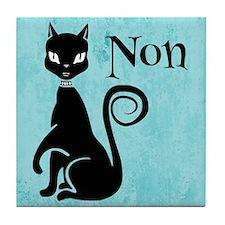 Black Kitty on Aqua Non No Tile Coaster