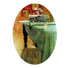 Brita at the Piano, painting by Carl Oval Ornament