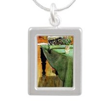 Brita at the Piano, pain Silver Portrait Necklace