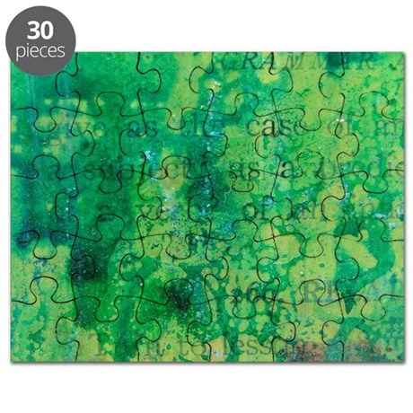 Green Paint and Text Puzzle