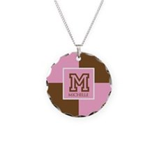 Brown and Pink Blocks Monogram Necklace