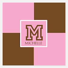 Brown and Pink Blocks Monogram 5.25 x 5.25 Flat Ca