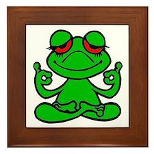 Frog Lotus Framed Tile