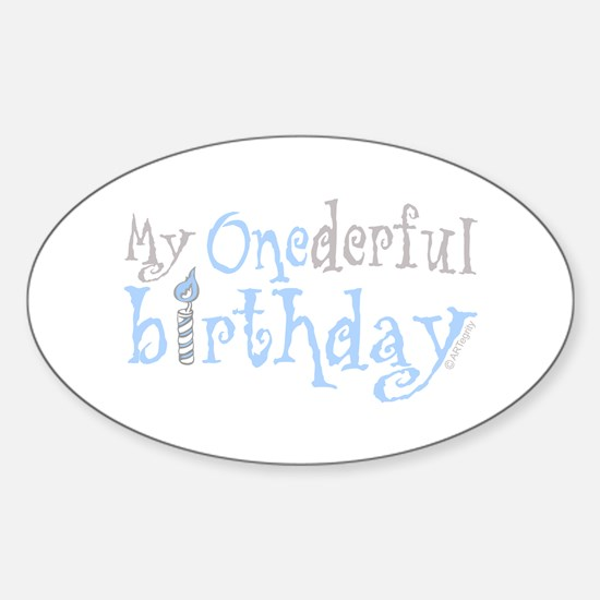 My Onederful Birthday (boy) Oval Decal