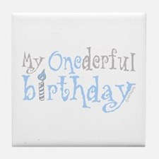 My Onederful Birthday (boy) Tile Coaster