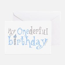 My Onederful Birthday (boy) Greeting Cards (Packag