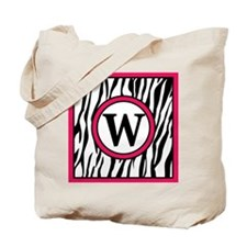 Letter W Zebra Stripes with Hot Pink Accents Tote