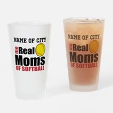 Personalize Softball Mom Drinking Glass