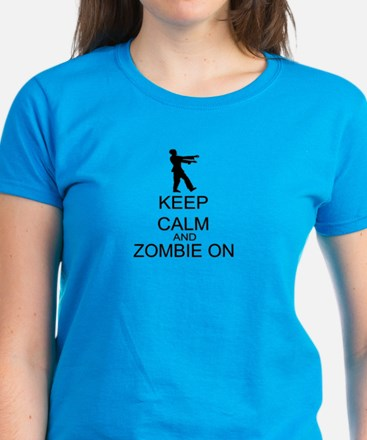 Keep Calm And Zombie On Women's Dark T-Shirt
