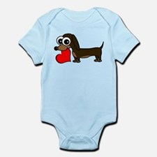 Cute Dachshund with Heart Body Suit