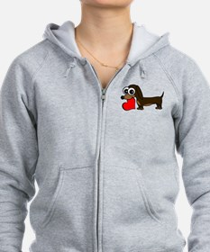 Cute Dachshund with Heart Zip Hoodie