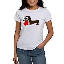 Cute Dachshund with Heart T-Shirt