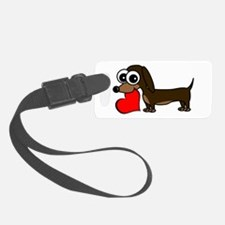 Cute Dachshund with Heart Luggage Tag