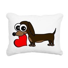 Cute Dachshund with Heart Rectangular Canvas Pillo