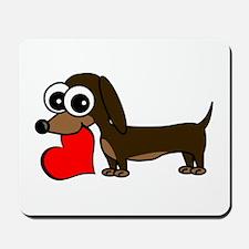 Cute Dachshund with Heart Mousepad