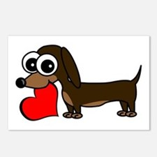 Cute Dachshund with Heart Postcards (Package of 8)