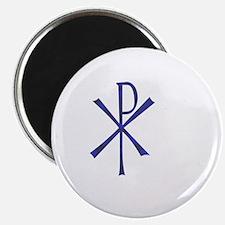 "Faux Blue Tile Chi Ro Cross 2.25"" Magnet (10 pack)"