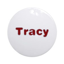 Tracy Santa Fur Round Ornament