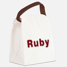 Ruby Santa Fur Canvas Lunch Bag