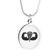 Jump Wings Stencil Silver Round Necklace