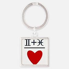 Gemini + Pisces = Love Square Keychain