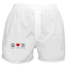 Peace Love Soccer Boxer Shorts
