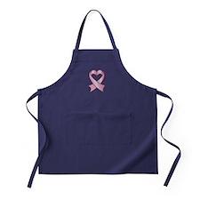 Breast Cancer Ribbon Heart Apron (dark)