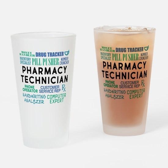 Pharmacy Technician Word Cloud Drinking Glass