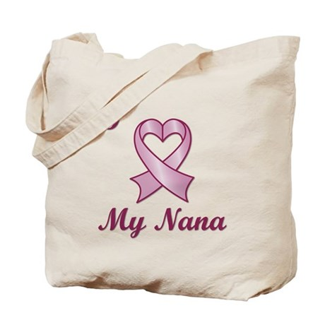 I love my Nana - Breast Cancer Heart Ribbon Tote B