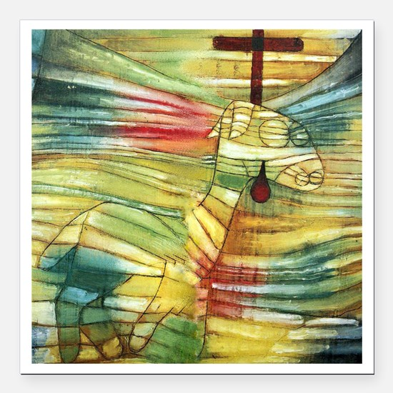 "Paul Klee The Lamb Square Car Magnet 3"" x 3"""