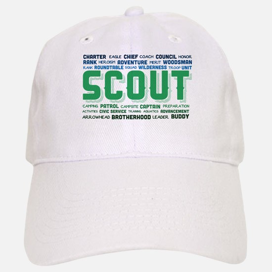 Scout Word Cloud Baseball Baseball Cap
