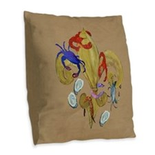 Cajun Fleur de lis Burlap Throw Pillow