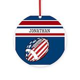 American football ball Round Ornaments